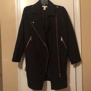 Black H&M Long Motorcycle Style Coat Size 6